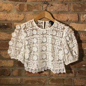 Women's Short Sleeved Lace Crop Cover